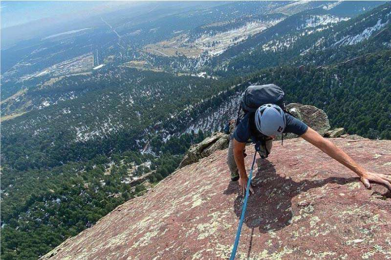 Climber on the Third Flatiron in Boulder, Colorado