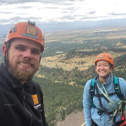 Climber with Guide near Boulder